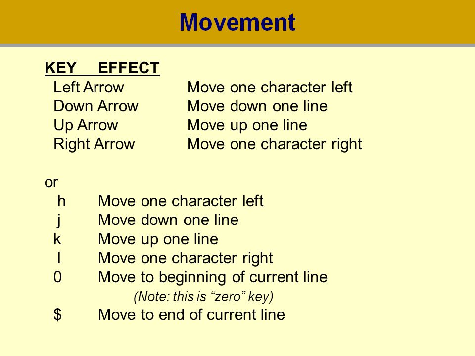 KEY EFFECT Left Arrow Move one character left. Down Arrow Move down one line. Up Arrow Move up one line.