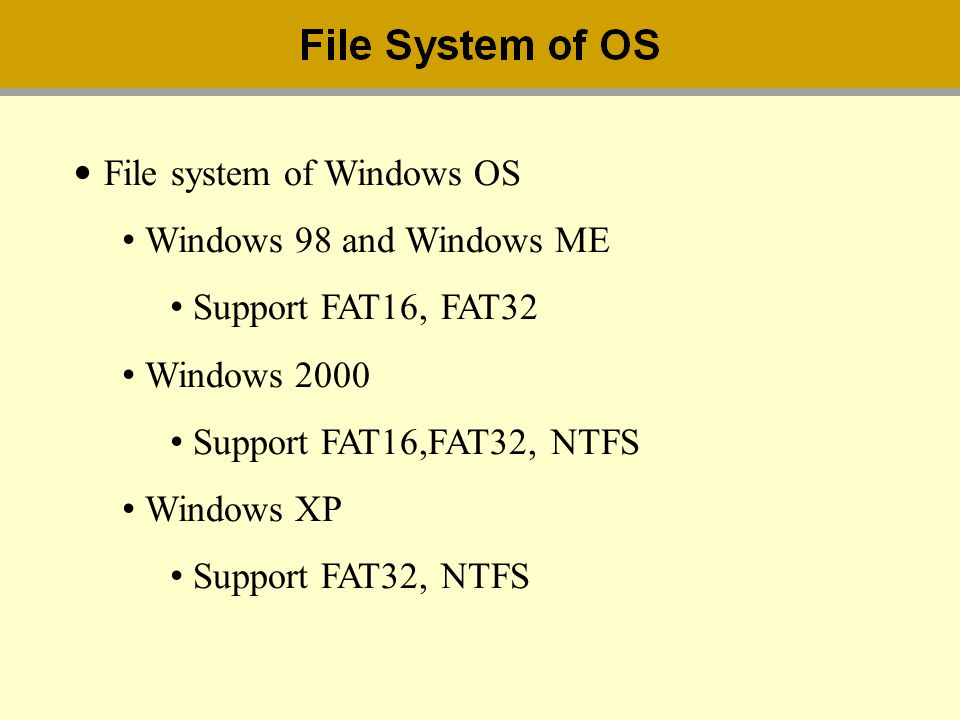File system of Windows OS