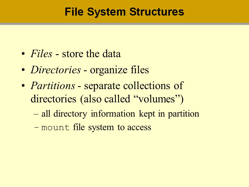 Directories - organize files