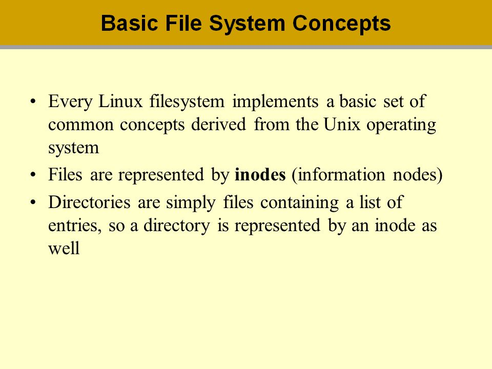 Every Linux filesystem implements a basic set of common concepts derived from the Unix operating system