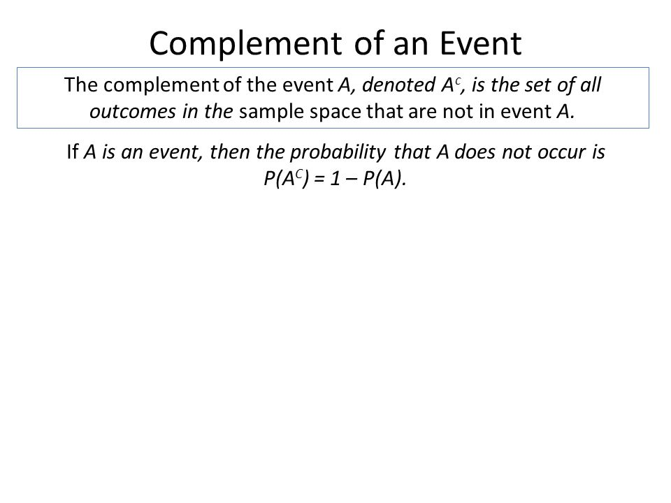 If A is an event, then the probability that A does not occur is