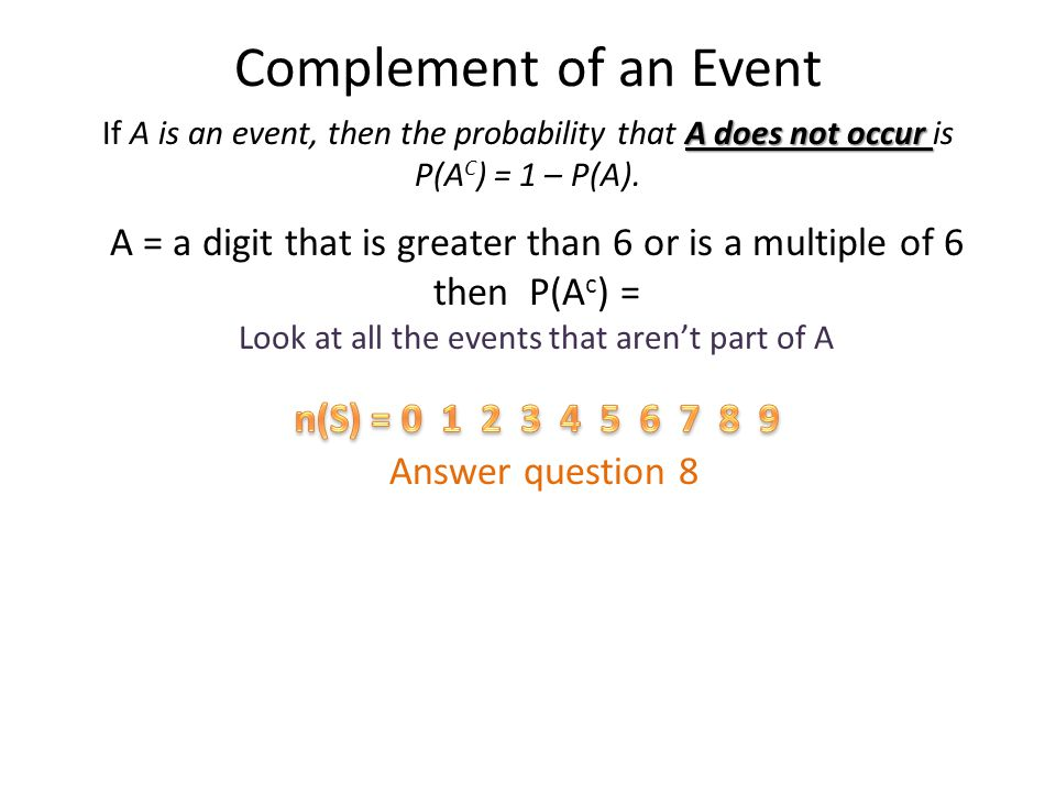 Complement of an Event If A is an event, then the probability that A does not occur is. P(AC) = 1 – P(A).