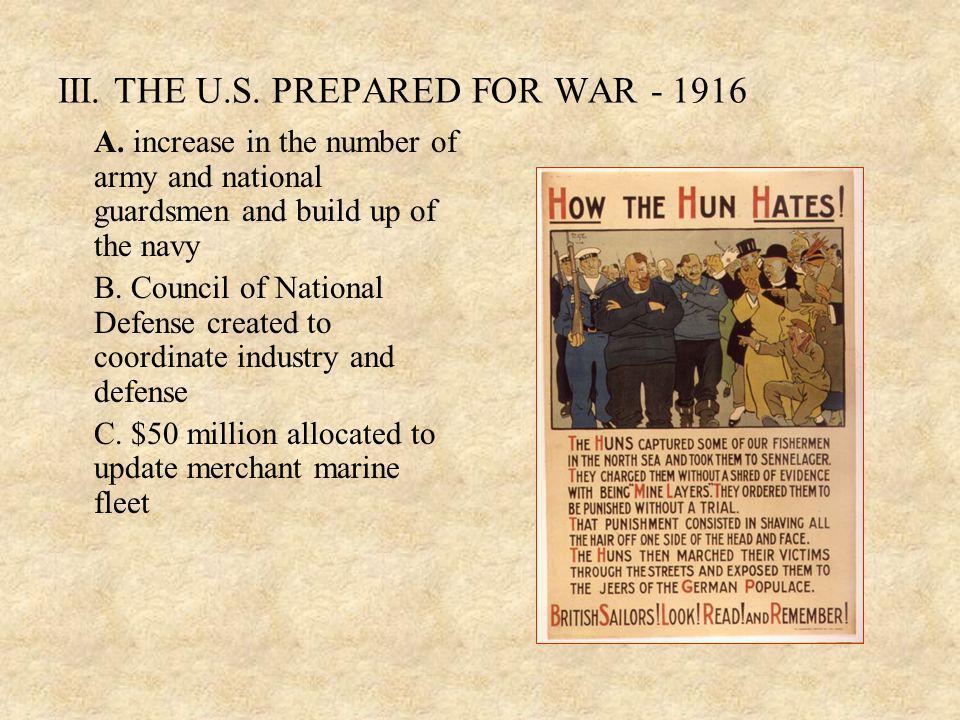 III. THE U.S. PREPARED FOR WAR - 1916