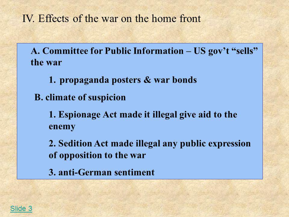 IV. Effects of the war on the home front