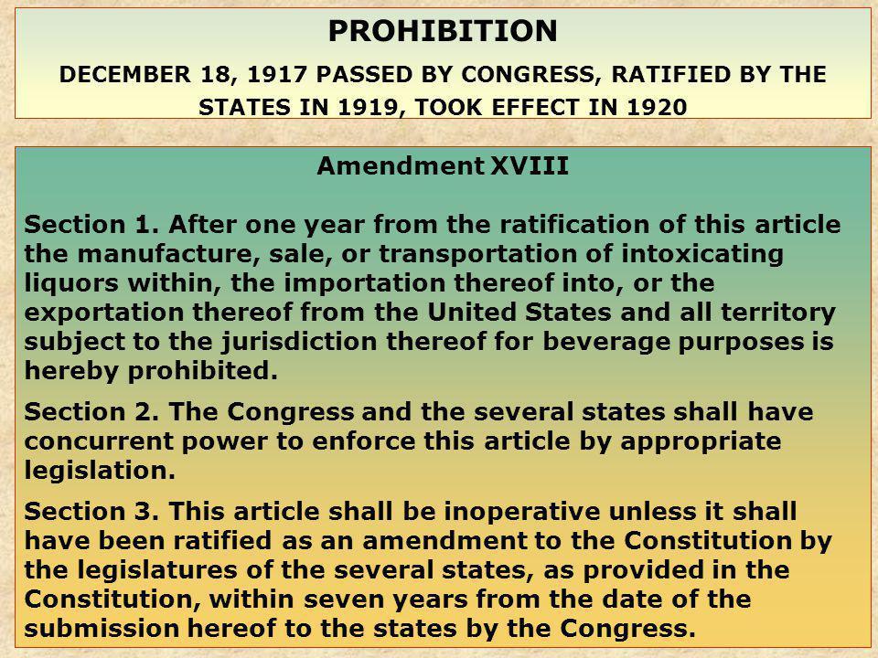 PROHIBITION Amendment XVIII