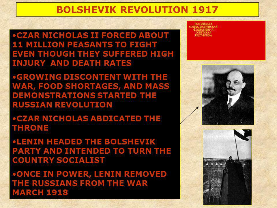 BOLSHEVIK REVOLUTION 1917 CZAR NICHOLAS II FORCED ABOUT 11 MILLION PEASANTS TO FIGHT EVEN THOUGH THEY SUFFERED HIGH INJURY AND DEATH RATES.