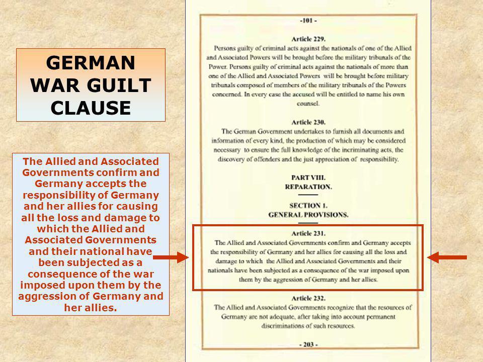 GERMAN WAR GUILT CLAUSE