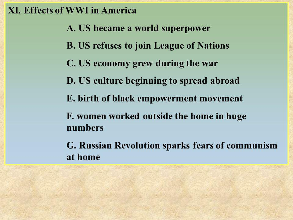 XI. Effects of WWI in America