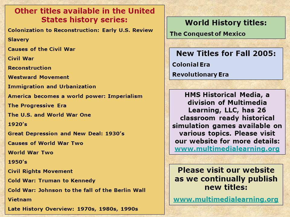 Other titles available in the United States history series: