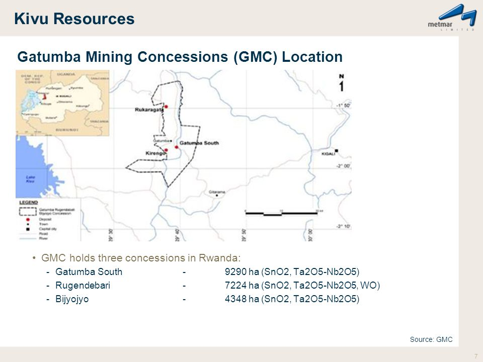 Kivu Resources Gatumba Mining Concessions (GMC) Location