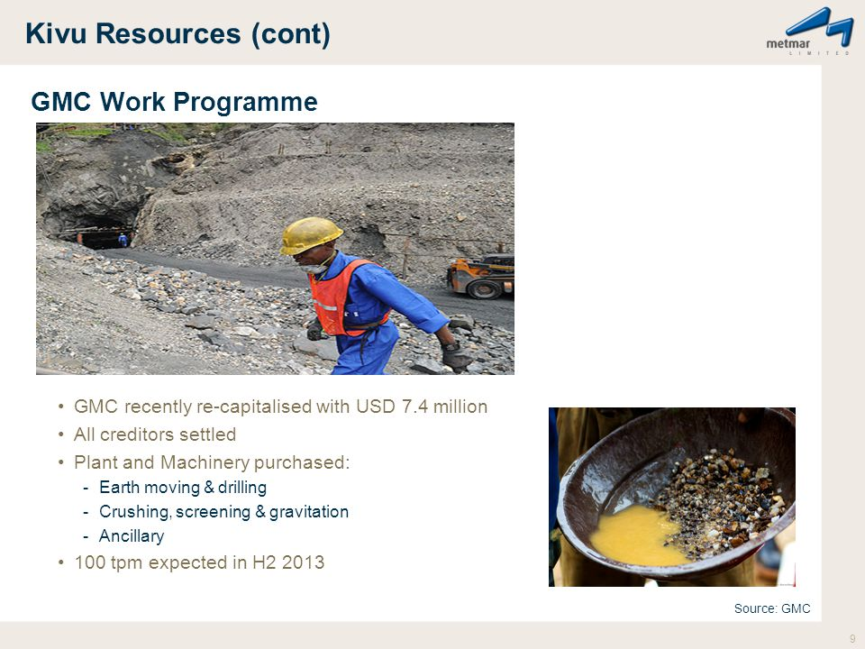 Kivu Resources (cont) GMC Work Programme