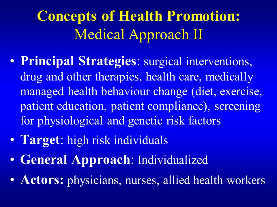 Concepts of Health Promotion: Medical Approach II