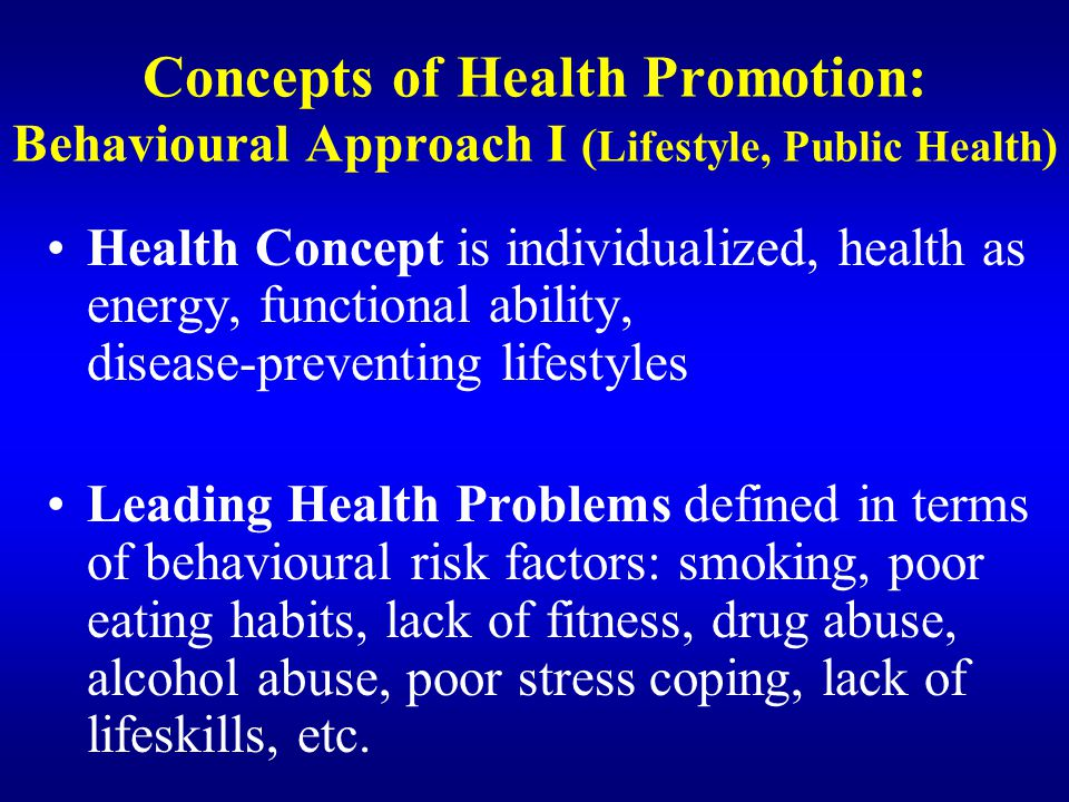 Concepts of Health Promotion: Behavioural Approach I (Lifestyle, Public Health)