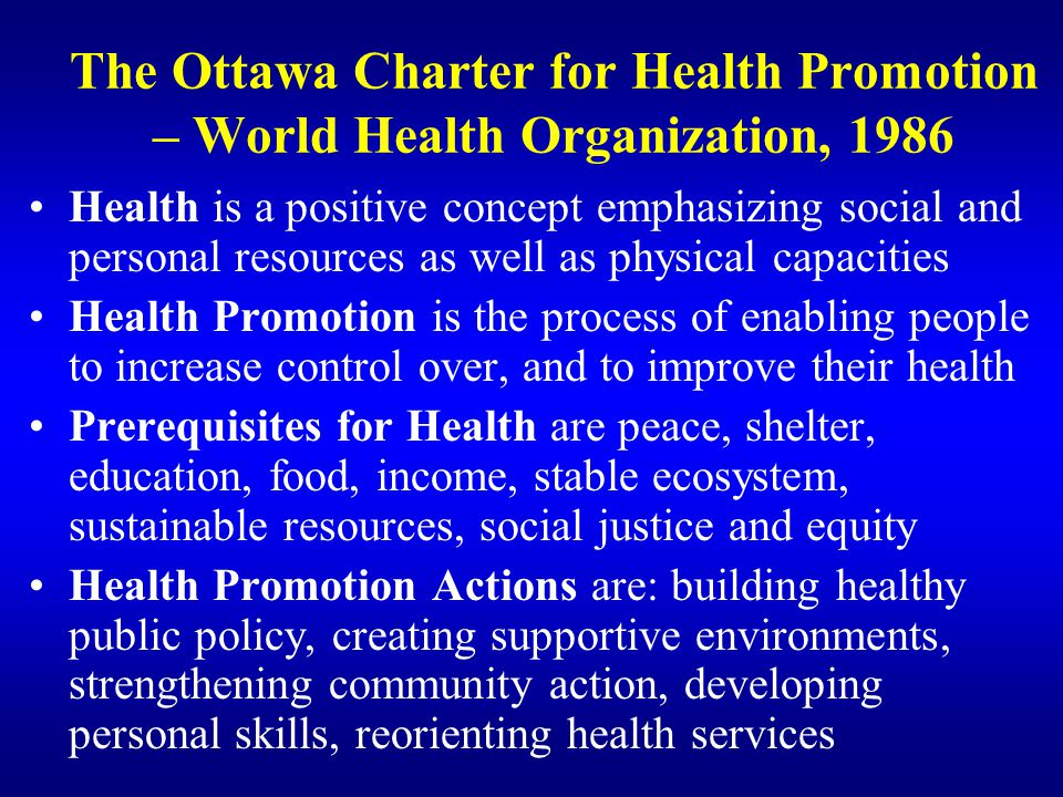 The Ottawa Charter for Health Promotion – World Health Organization, 1986