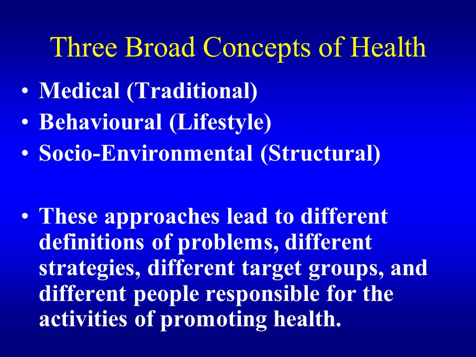 Three Broad Concepts of Health