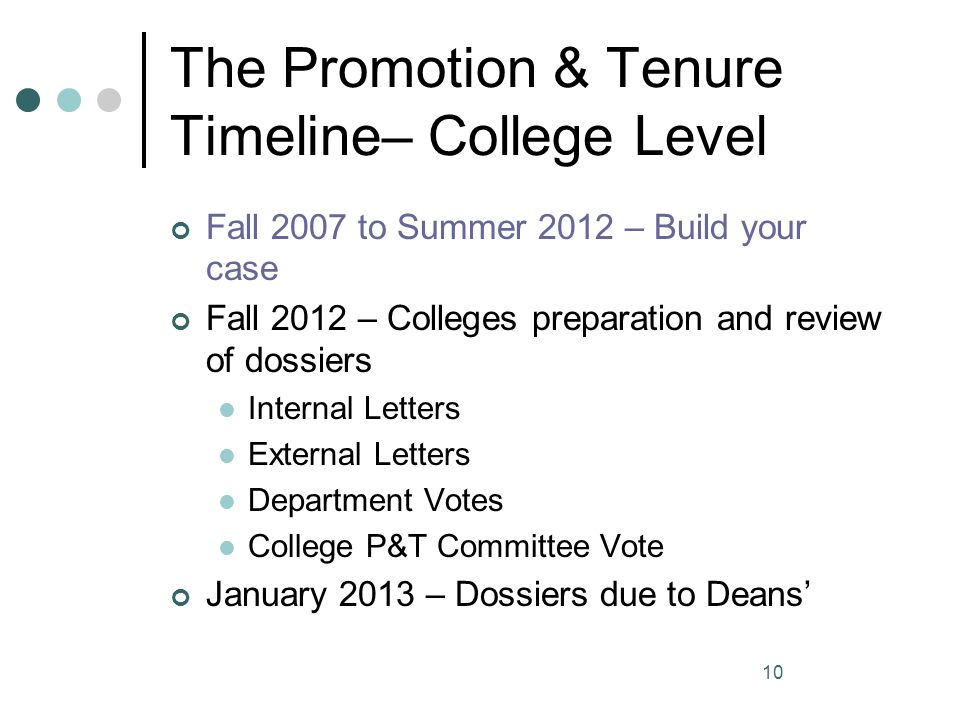 The Promotion & Tenure Timeline– College Level