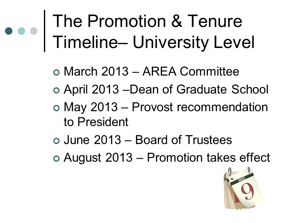 The Promotion & Tenure Timeline– University Level