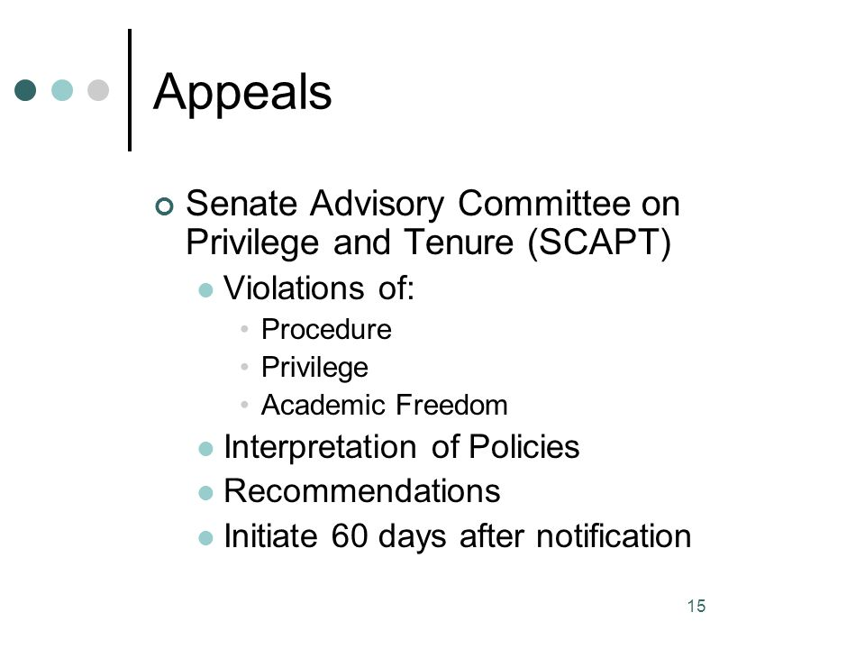 Appeals Senate Advisory Committee on Privilege and Tenure (SCAPT)