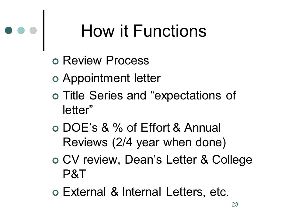 How it Functions Review Process Appointment letter