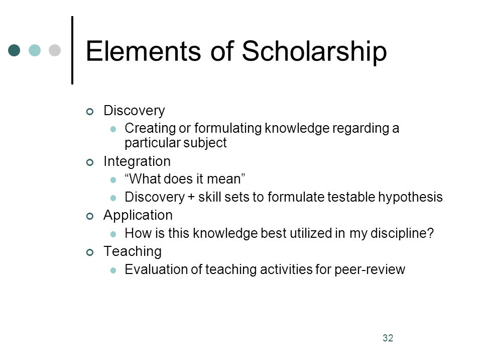 Elements of Scholarship