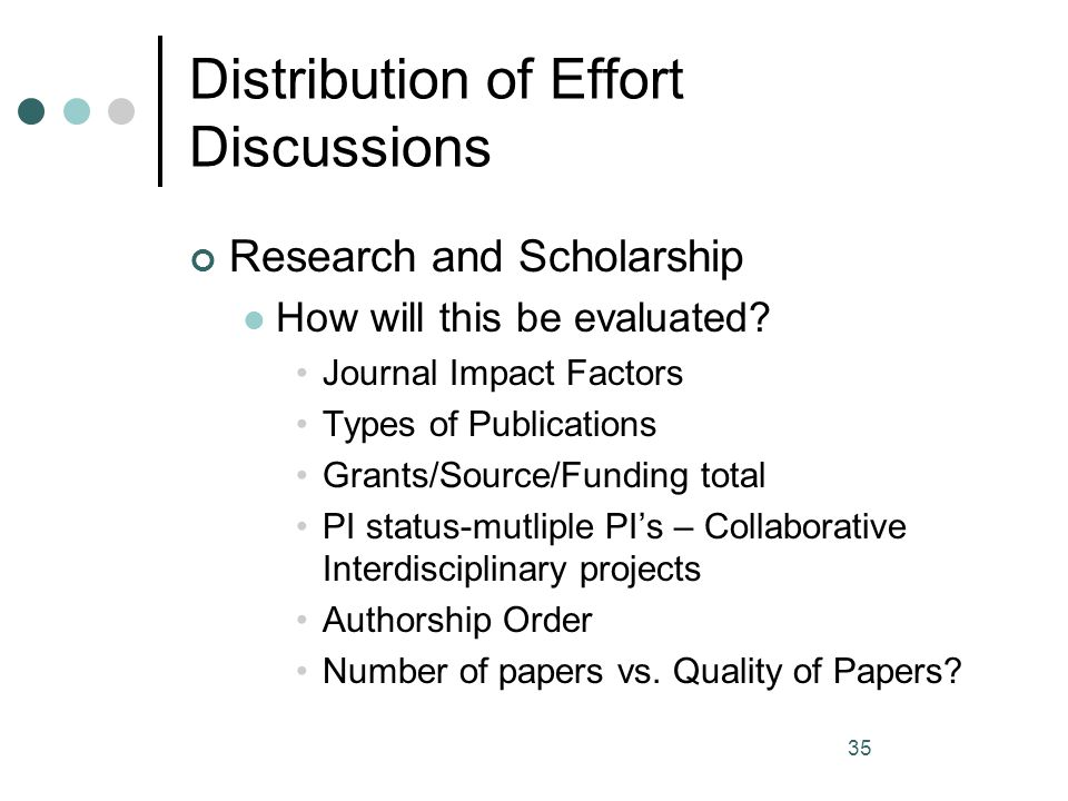 Distribution of Effort Discussions