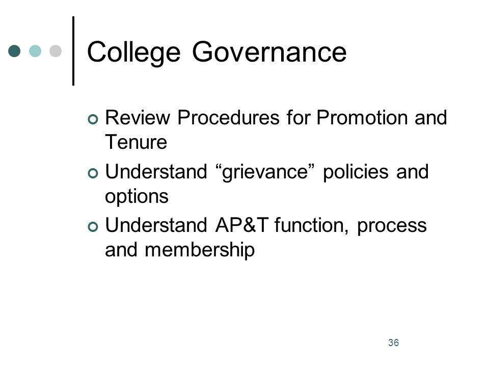 College Governance Review Procedures for Promotion and Tenure