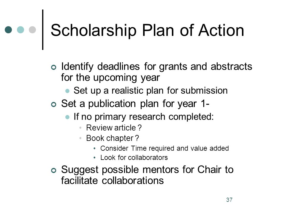 Scholarship Plan of Action