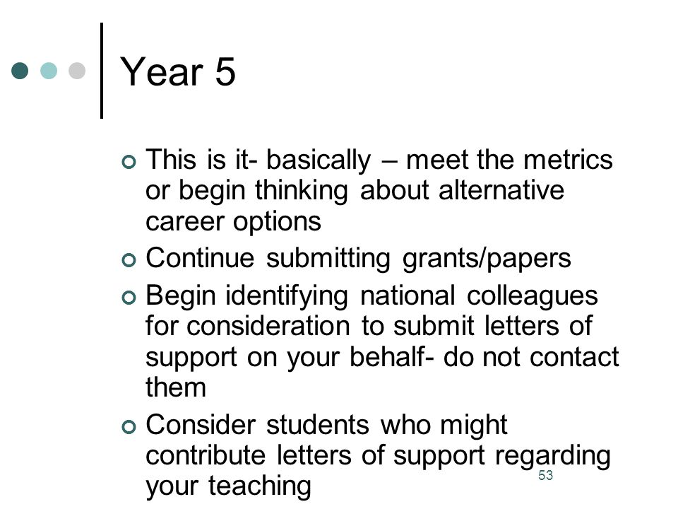 Year 5 This is it- basically – meet the metrics or begin thinking about alternative career options.