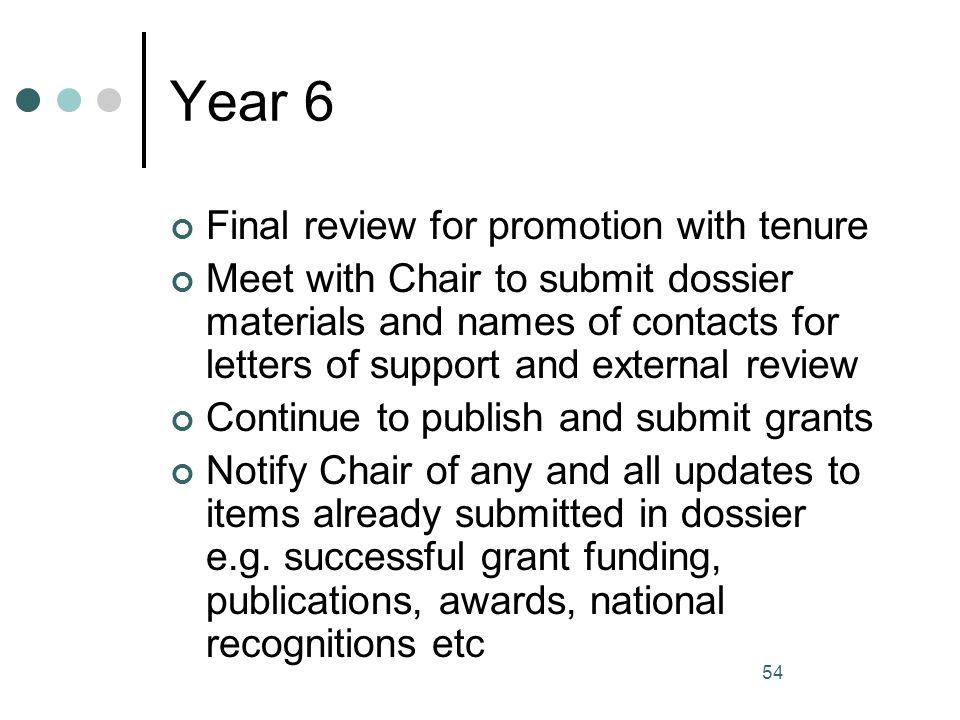 Year 6 Final review for promotion with tenure