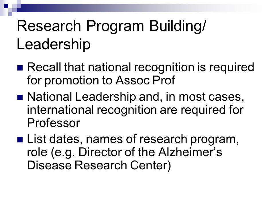 Research Program Building/ Leadership