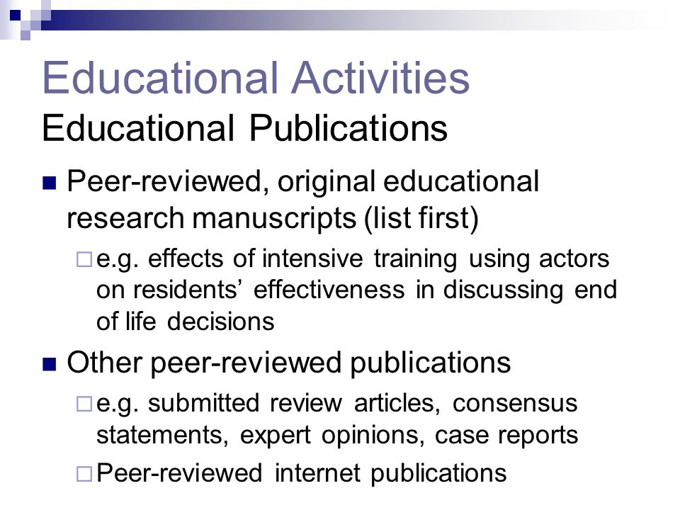 Educational Activities Educational Publications