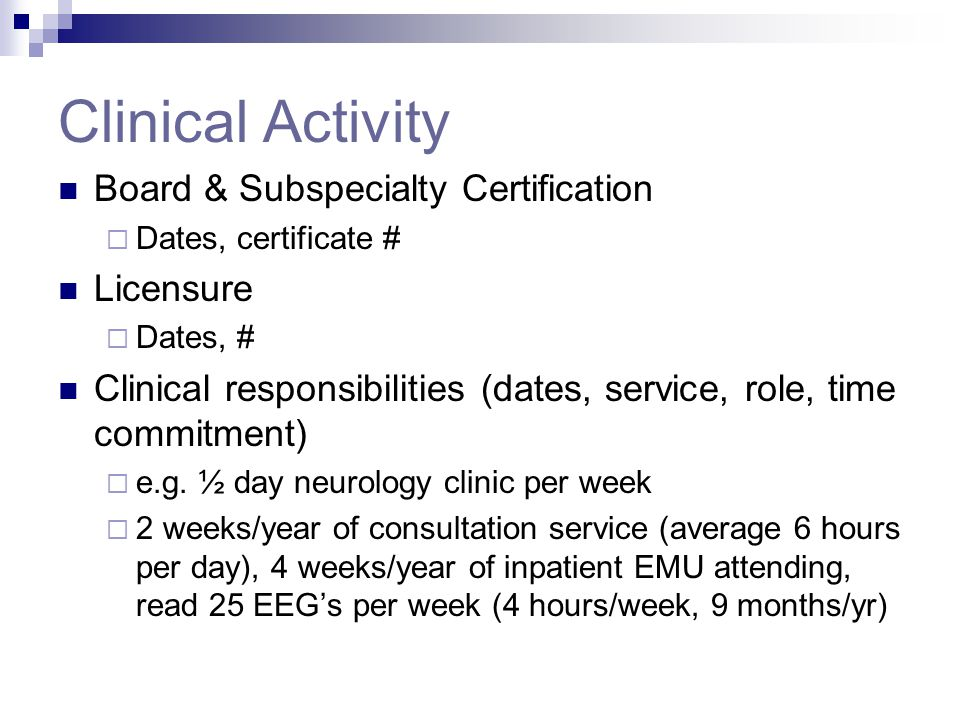 Clinical Activity Board & Subspecialty Certification Licensure