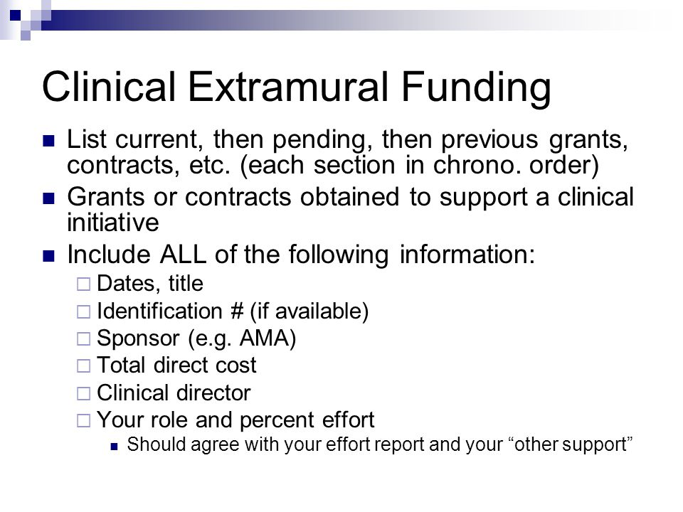 Clinical Extramural Funding