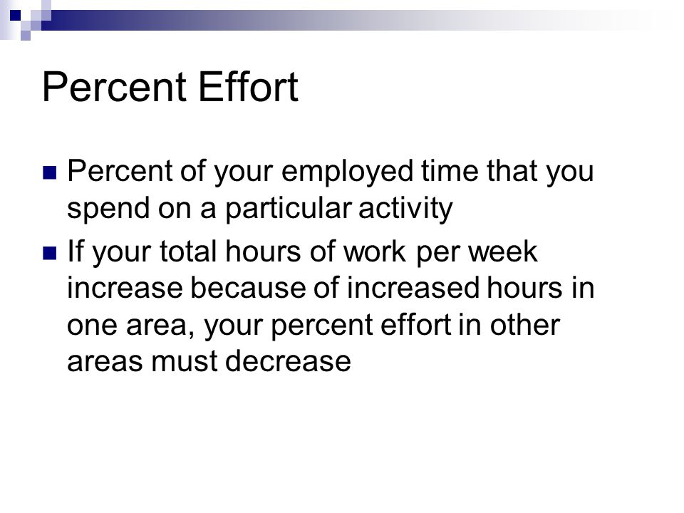 Percent Effort Percent of your employed time that you spend on a particular activity.