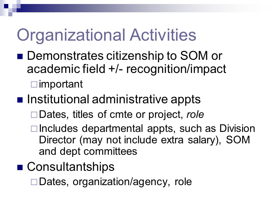 Organizational Activities