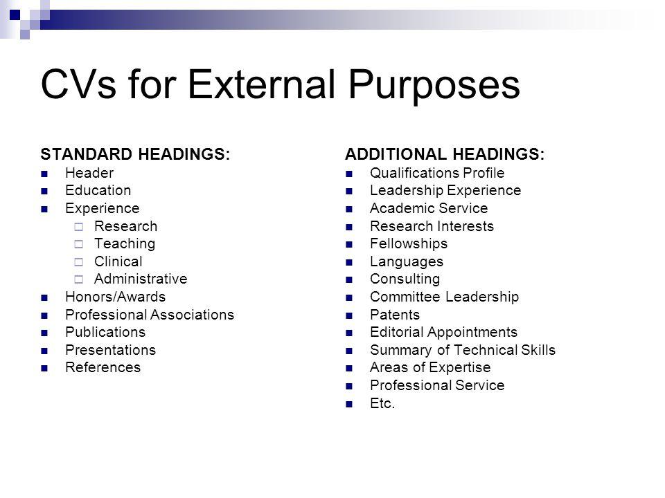 CVs for External Purposes