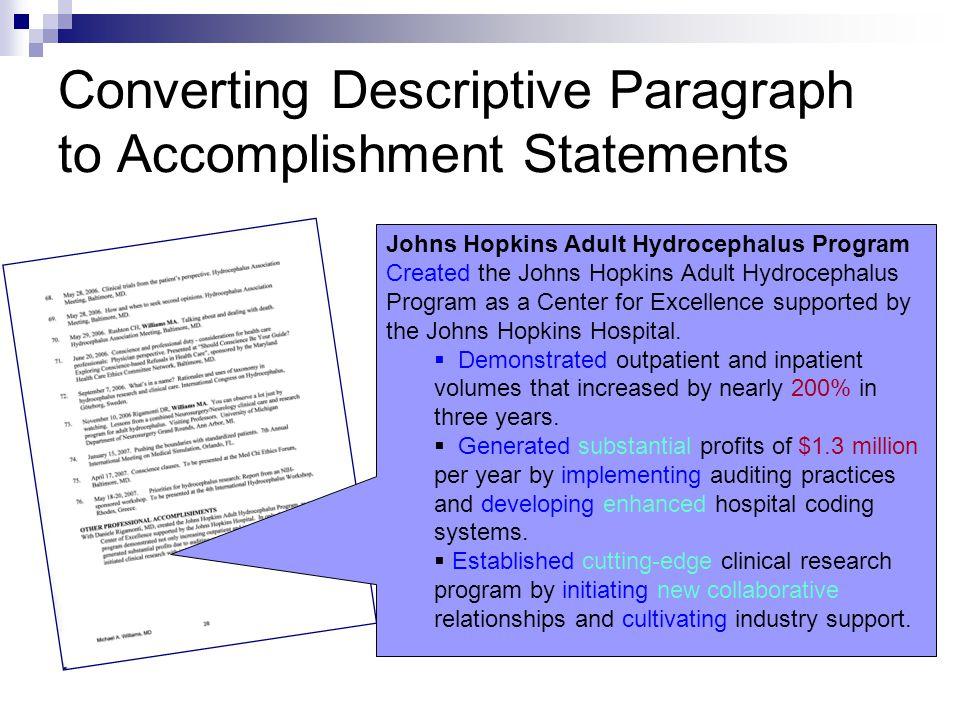 Converting Descriptive Paragraph to Accomplishment Statements