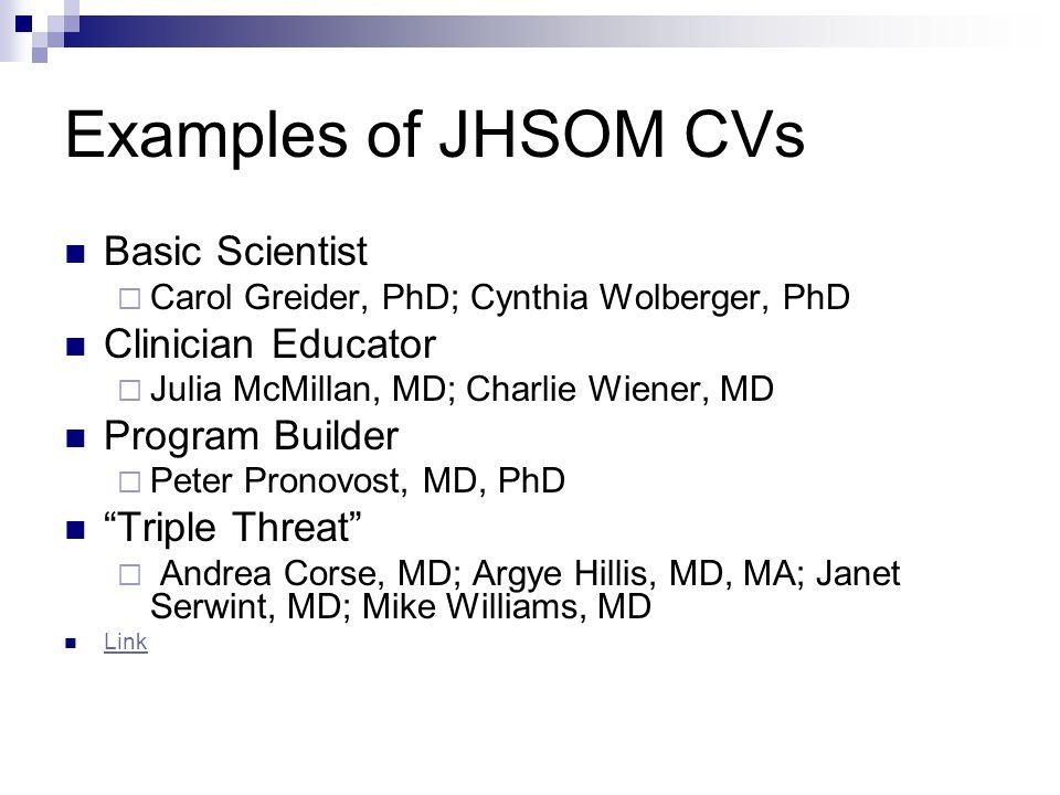 Examples of JHSOM CVs Basic Scientist Clinician Educator