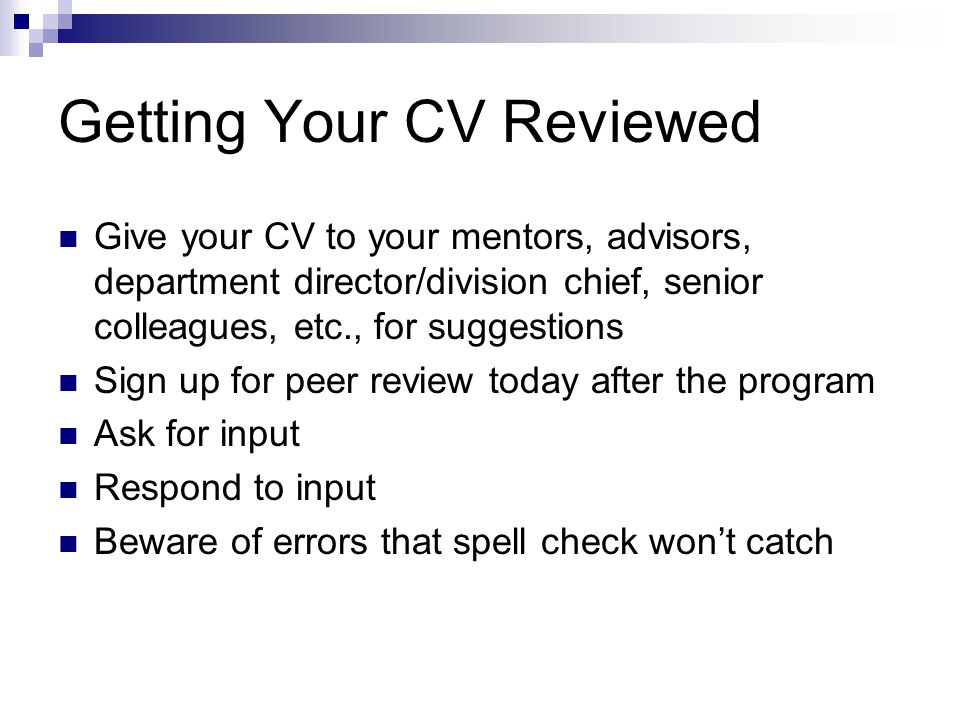 Getting Your CV Reviewed