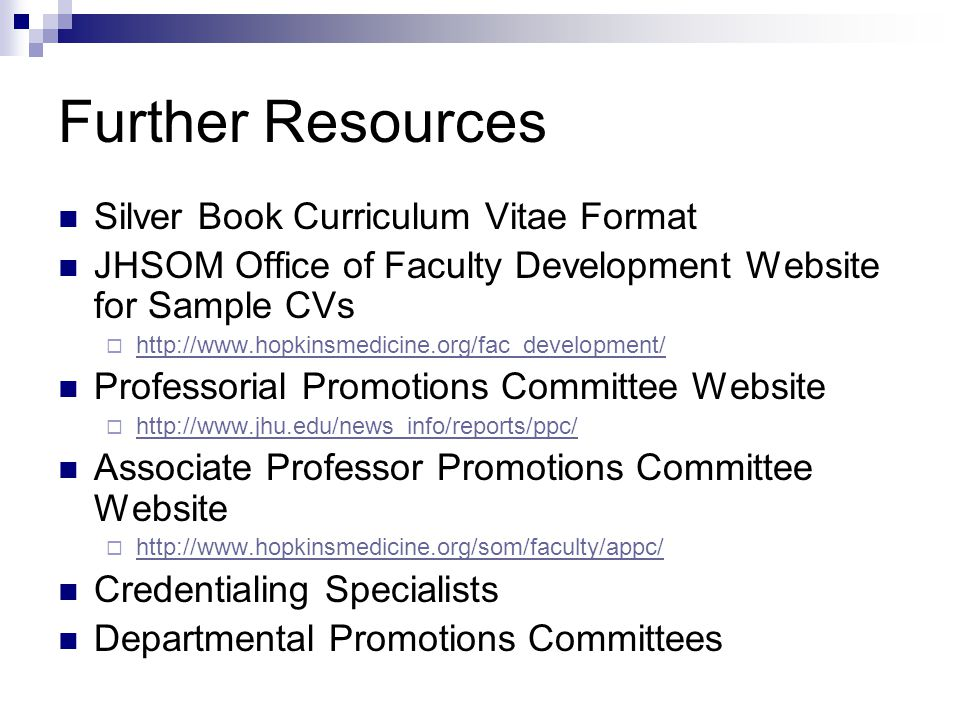 Further Resources Silver Book Curriculum Vitae Format