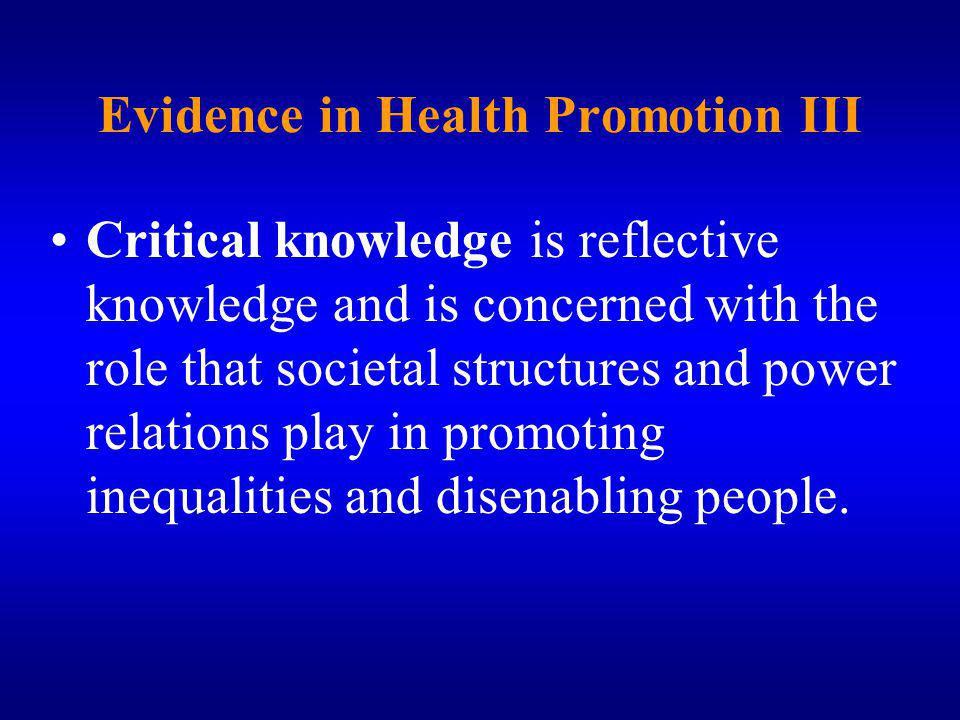 Evidence in Health Promotion III