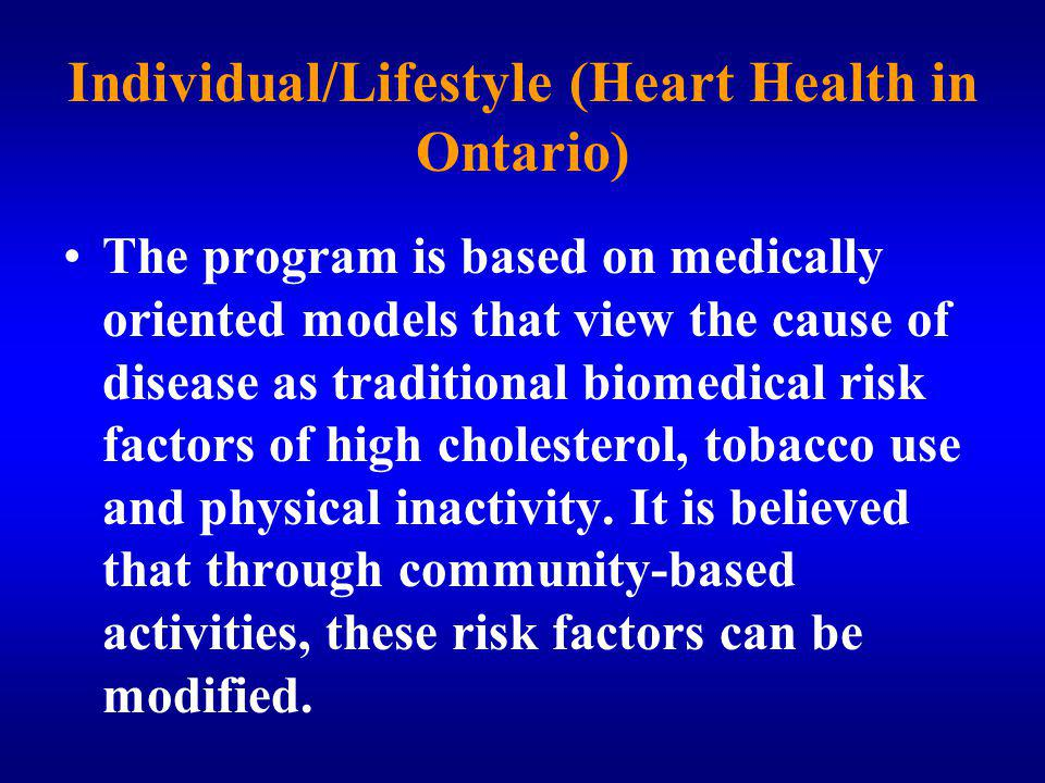 Individual/Lifestyle (Heart Health in Ontario)