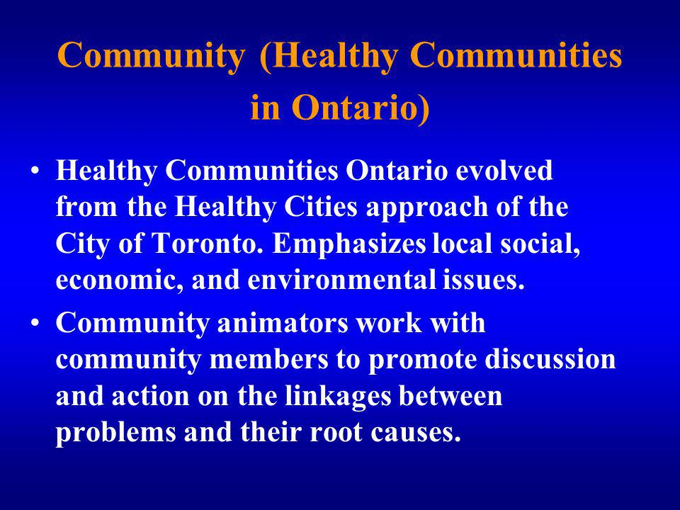 Community (Healthy Communities in Ontario)