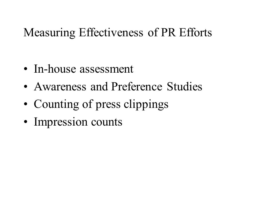 Measuring Effectiveness of PR Efforts