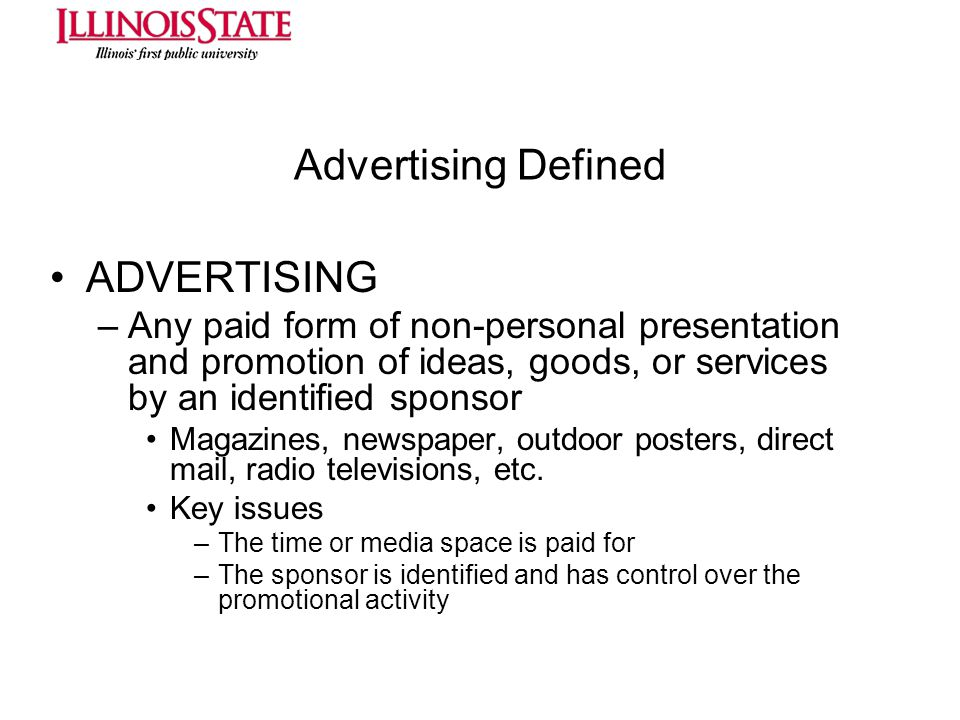 Advertising Defined ADVERTISING
