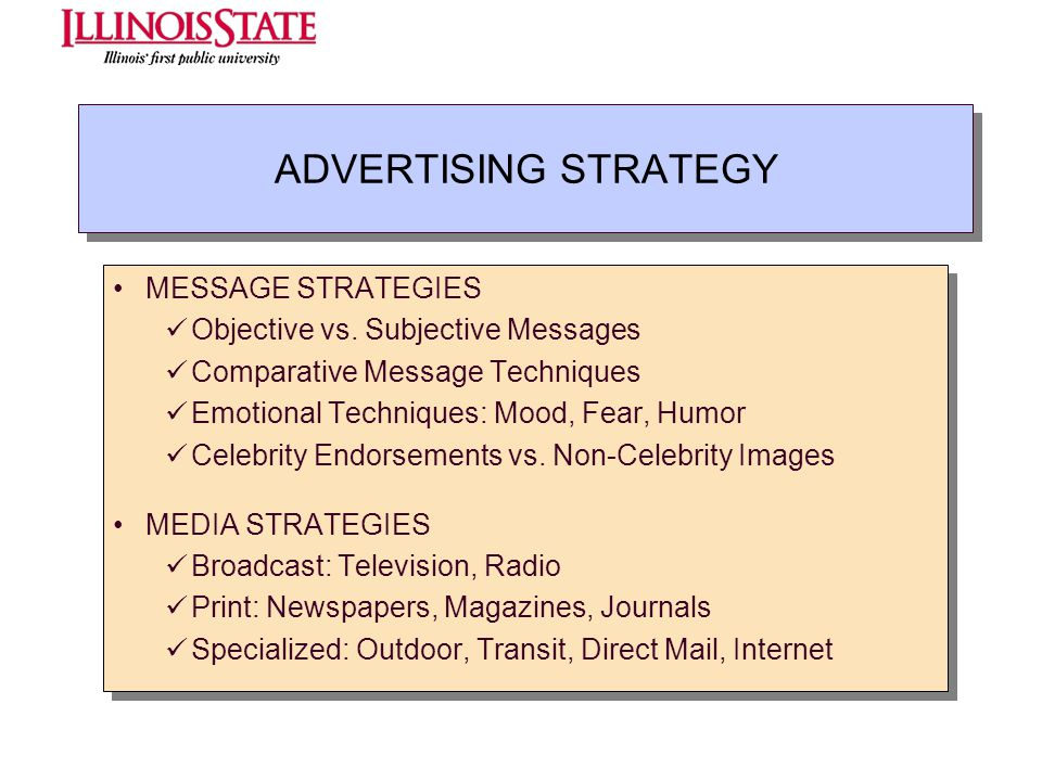 ADVERTISING STRATEGY MESSAGE STRATEGIES