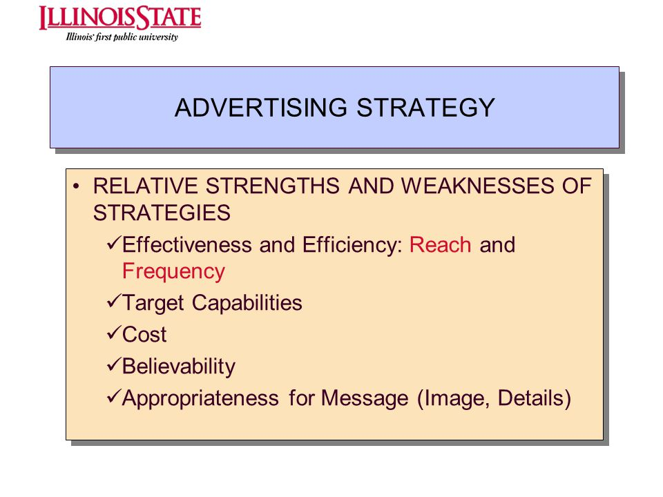 ADVERTISING STRATEGY RELATIVE STRENGTHS AND WEAKNESSES OF STRATEGIES