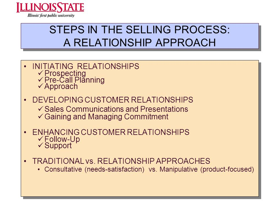 STEPS IN THE SELLING PROCESS: A RELATIONSHIP APPROACH