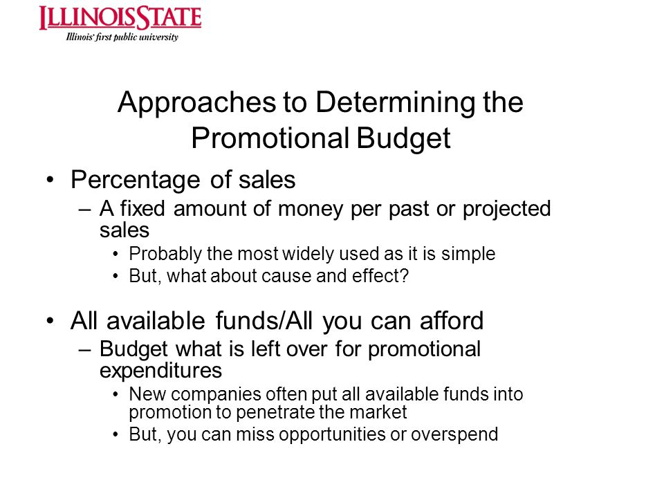 Approaches to Determining the Promotional Budget
