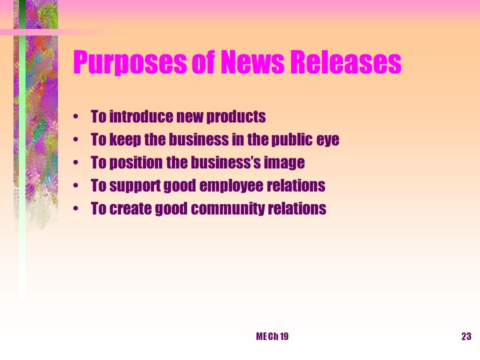 Purposes of News Releases